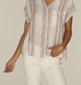 Mod SS Boyfriend Shirt Multi Stripe