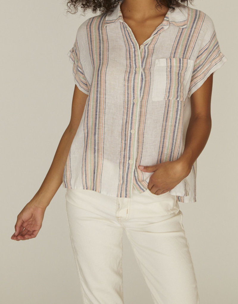 Sanctuary Mod SS Boyfriend Shirt Multi Stripe