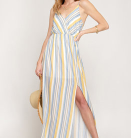 She & Sky Striped Maxi Dress w/ Slit Yellow