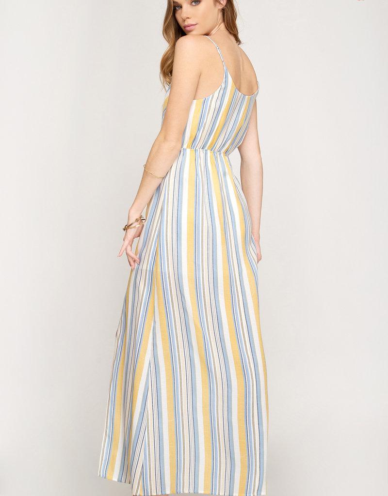 She & Sky Striped Maxi Dress w/ Slit Yellow