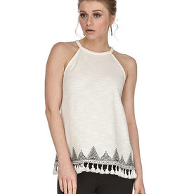 Joy Joy Tassle Embroidered Halter White