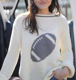 Wooden Ships Football Crewneck Sweater Cream/Cement