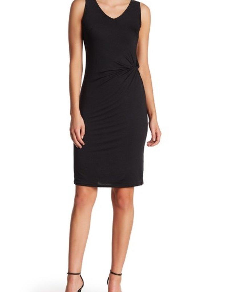 Matty M Side Twist Midi Dress Black