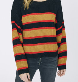 Sanctuary Ezra Striped Sweater Black Amber
