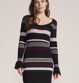 Cupcakes and Cashmere Cosette Stripe Sweater Dress Black