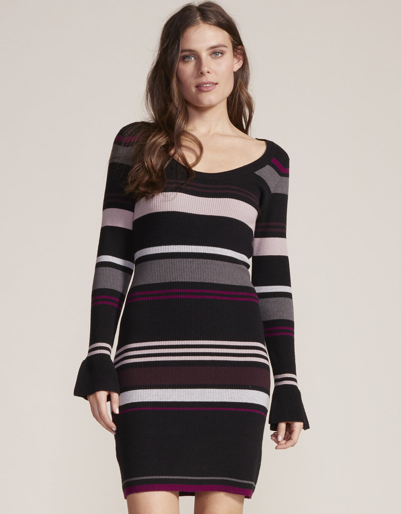 Cosette Stripe Sweater Dress Black