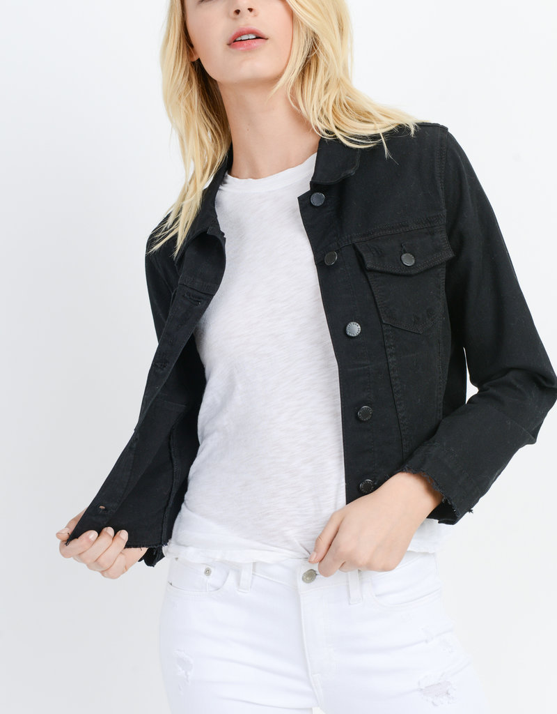 Distressed Denim Jacket Black