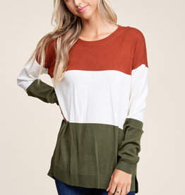 Staccato Color Block Sweater Rust/Ivory