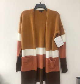 Staccato Brushed Color Blocked Cardigan Camel/Orange