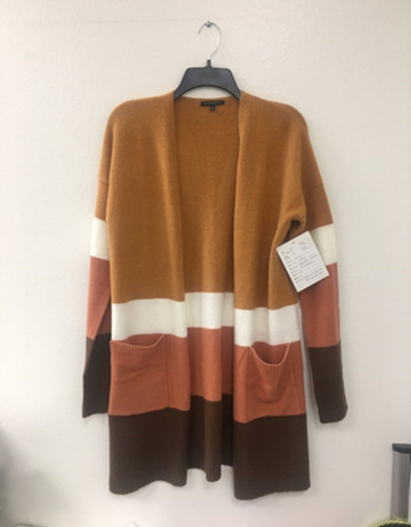 Brushed Color Blocked Cardigan Camel/Orange