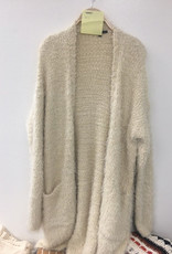 Staccato Fuzzy Open Front Cardigan Oatmeal