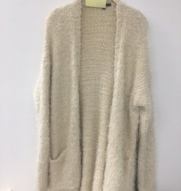 Fuzzy Open Front Cardigan Oatmeal