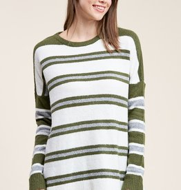 Multi Stripe Sweater Olive/Ivory