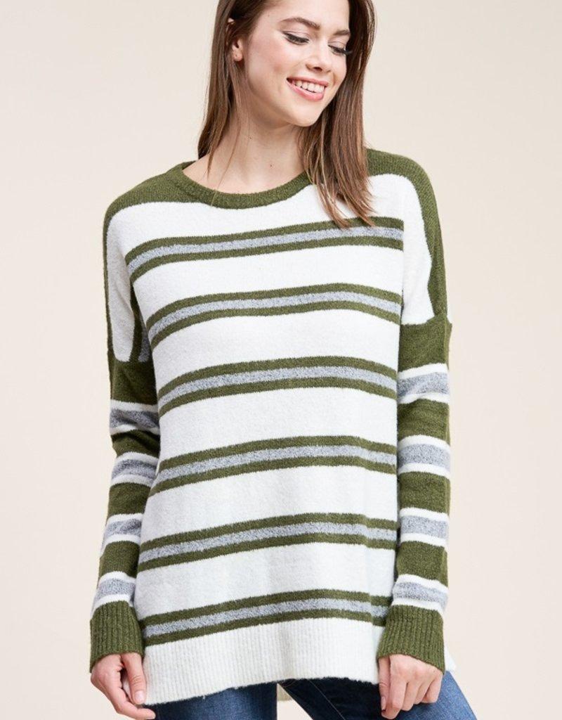 Multi Stripe Sweater Olive/Ivory