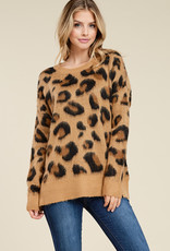 Brushed Leopard Crew Sweater