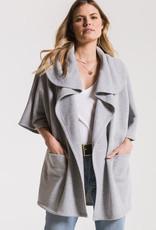 Z Supply Loft Fleece Oversized Cardigan Heather Grey