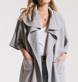 Z Supply Loft Fleece Oversized Cardigan Heather Grey