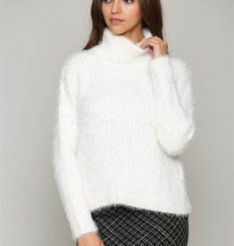 Fate Fuzzy Turtleneck Sweater Cream