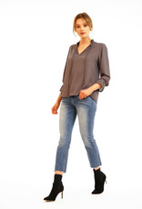 Pleated Neck Blouse Charcoal