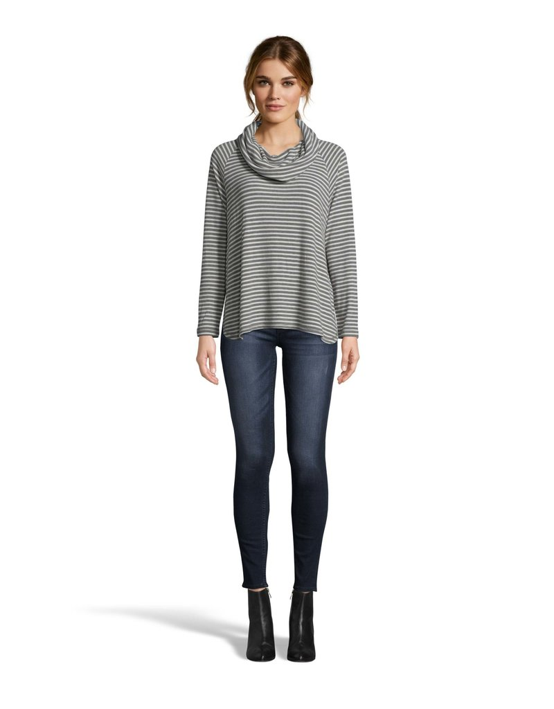 Line It Up Stripe Top Charcoal