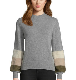Cupcakes and Cashmere Drew Sweater w/ Fur Stripe Sleeve Grey
