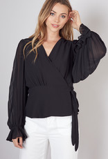 Do & Be Pleated Sleeve Wrap Top Black