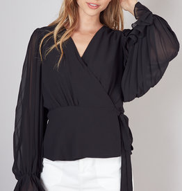 Do & Be Pleated Sleeve Wrap Top Black