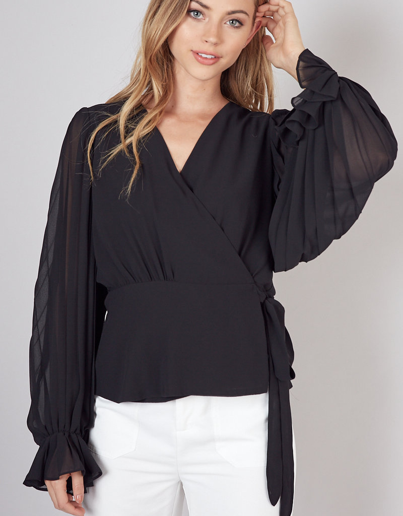 Pleated Sleeve Wrap Top Black