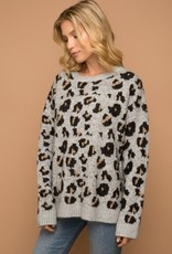 Leopard Thick Sweater Grey