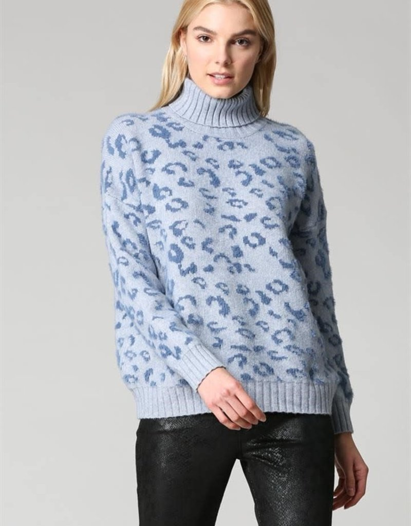 Leopard Turtleneck Sweater Blue