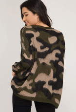 Camouflage Print Sweater One Size