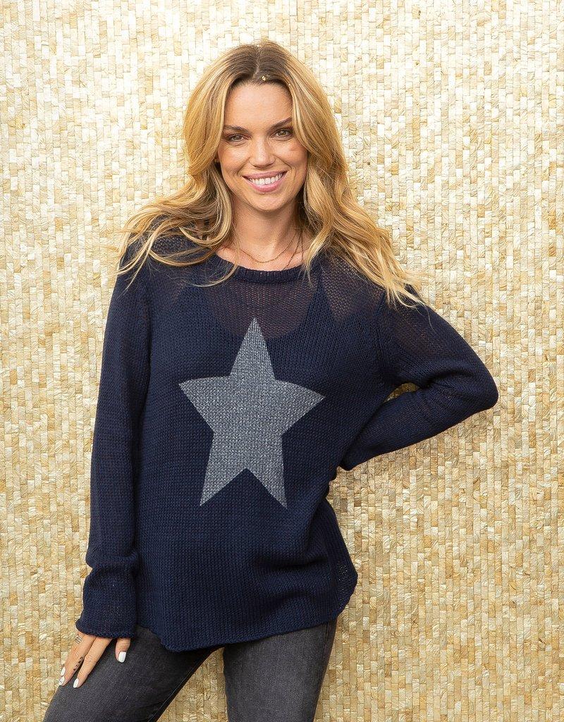Metallic Star Crew Sweater