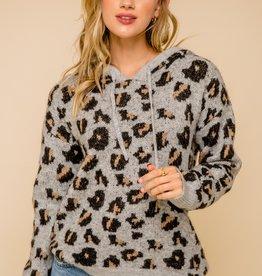 Leopard Hoodie Grey