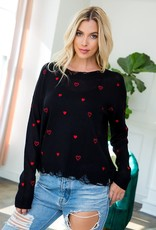 Distressed Heart Sweater Black/Red