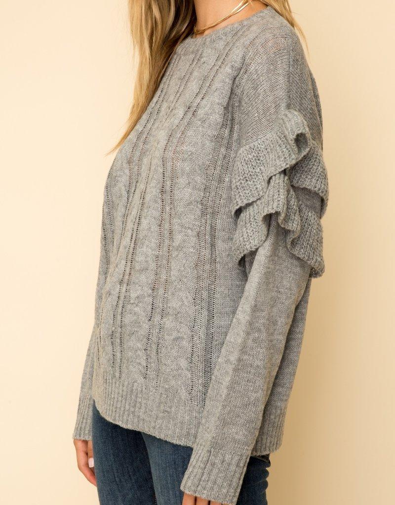 Ruffle Sleeve Sweater Grey