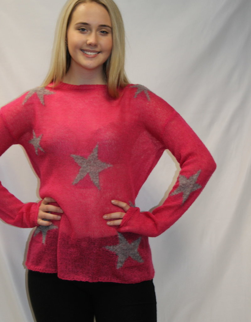 Star Print Sweater Grey