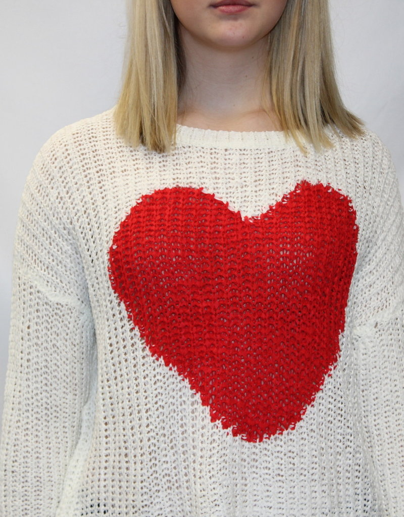 Large Heart Sweater Ivory