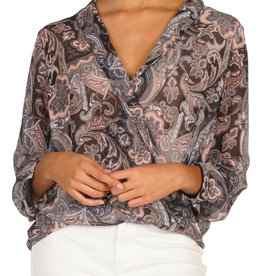 Sheer V-Neck Blouse Black Paisley