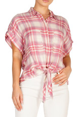 Check SS Tie Front Top Pink