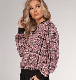 Plaid Bomber Jacket Black/Red
