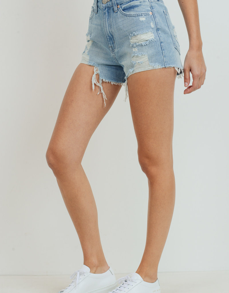 Hr Super Destroyed Short Light Denim