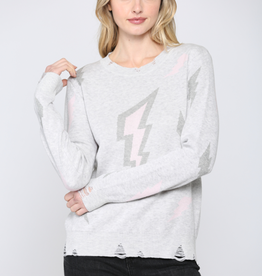 Distressed Lightning Bolt Sweater Pink
