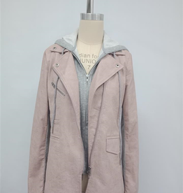 Faux Leather Hooded Blazer Mauve