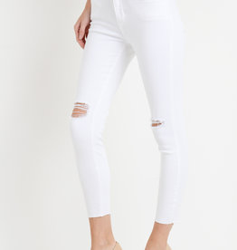 Skinny w/ Knee and Hem Destruction White