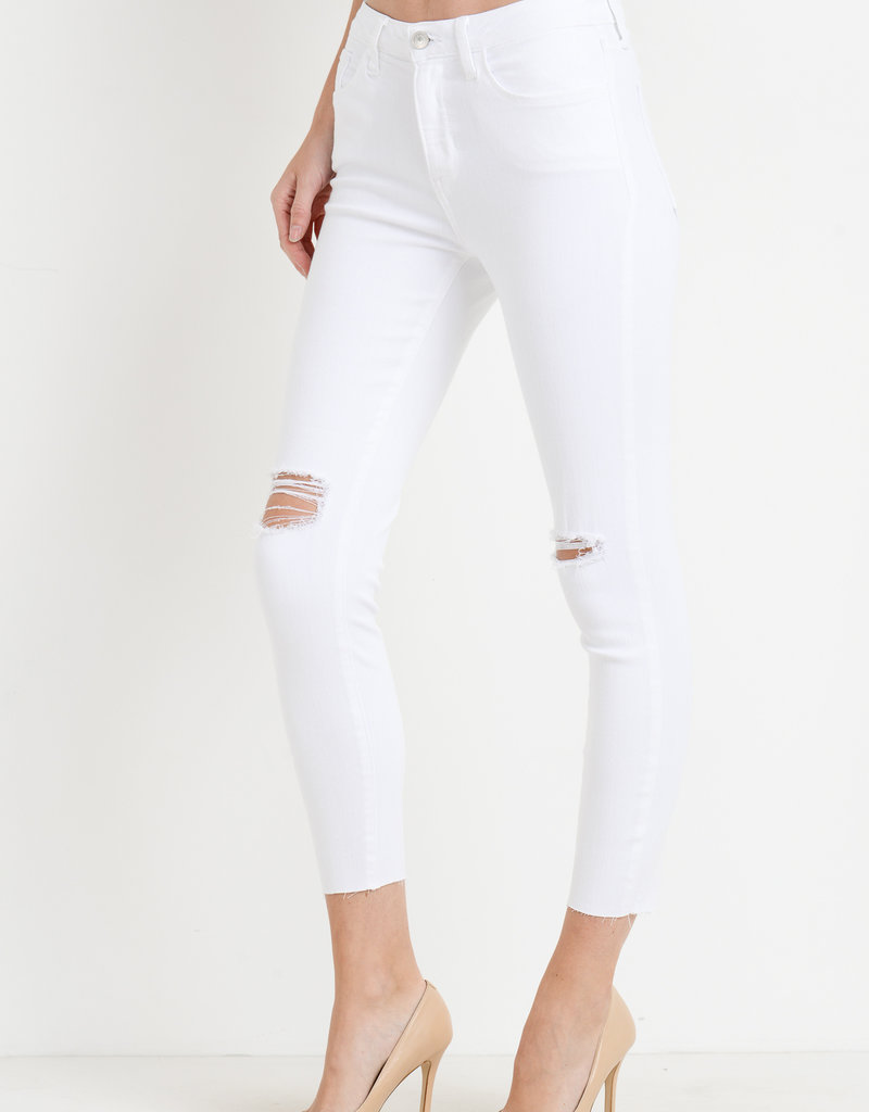Skinny w/ Knee and Hem Destruction White