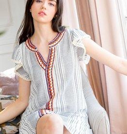 Stripe Shift Dress w/ Crochet Trim White