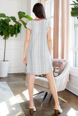 Stripe Shift Dress w/ Crochet Trim White