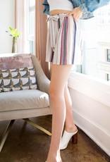 Stripe Paperbag Shorts Beige