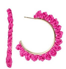 Beach Raffia Hoop Earrings