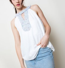 Sleeveless Embroidered Tweed Blouse White